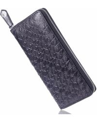 Drew Lennox Luxury English Leather Ladies 12 Card Zip Around Purse & Wallet In Verglas Black
