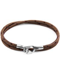 Anchor & Crew Brown Tenby Silver & Rope Bracelet - Multicolour