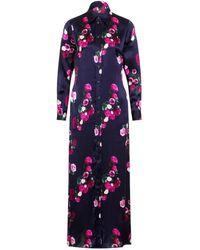 Sophie Cameron Davies Rose Silk Maxi Dress - Blue