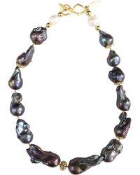 Farra Deep Purple Natural Baroque Pearls Necklace - Multicolour