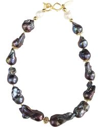Farra - Deep Purple Natural Baroque Pearls Necklace - Lyst