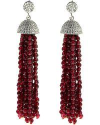 Cosanuova - Sterling Silver Red Jade Tassel Earrings In Yellow Gold - Lyst