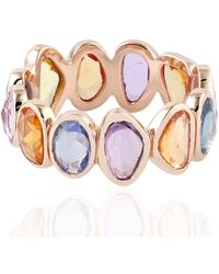 Artisan 18kt Rose Gold Multi Sapphire Women Band Ring - Multicolor