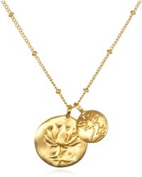 Satya Jewelry - Double Lotus Gold Necklace - Lyst