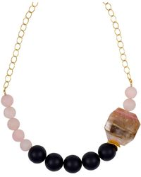 Magpie Rose - Peruvian Pink Opal & Black Onyx Statement Necklace - Lyst