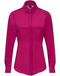Sophie Cameron Davies Berry Pink Fitted Silk Shirt