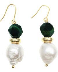 Farra Edison Pearl With Tiger Eyes Stones Hook Earrings - Green