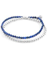 Anchor & Crew Blue Dumortierite Harmony Silver & Stone Bracelet