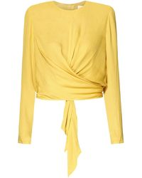 Paisie - Wrap Top With Tie Waist In Yellow - Lyst
