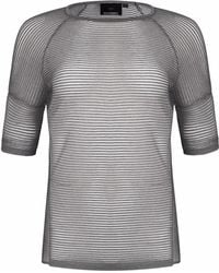 NY CHARISMA Grey & White Two-tone Ottoman Stitch Short Sleeve Pullover