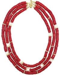 Farra - Corals & Freshwater Triple Strands Necklace - Lyst