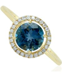 Artisan 18kt Solid Yellow Gold Pave Diamond Blue Topaz Women Ring Handmade Jewelry - Multicolor