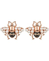 LÁTELITA London Honey Bee Pearl Stud Earrings Rosegold - Multicolour