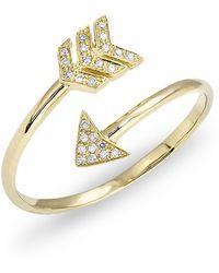 Anne Sisteron - Yellow Gold Diamond Mini Arrow Wrap Ring - Lyst
