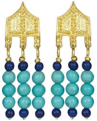 Ottoman Hands Riva Turquoise And Lapis Bead Drop Earrings - Blue