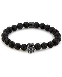 Northskull Lavastone & Perforated Gunmetal Skull Charm Bracelet - Black