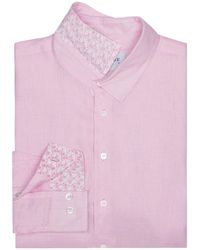 Pink House Mustique Mens Linen Shirt In Pale Pink