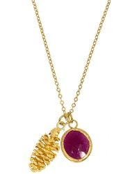 Ottoman Hands - Gold Pinecone & Ruby Charm Necklace - Lyst