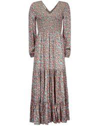 Aspiga Fleur Satin Shirred Maxi Dress - Green