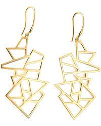 Ona Chan Jewelry - Multi Lattice Drop Earrings Yellow Gold - Lyst