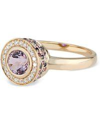 Ri Noor Diamond Pink Amethyst Purple Amethyst & Black Diamond Ring
