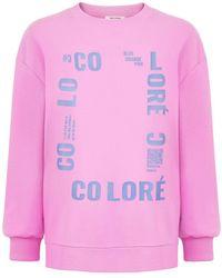 Nocturne Text Oversized Sweatshirt - Pink