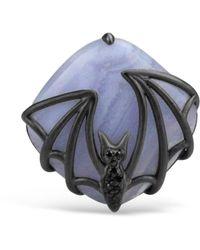 Bellus Domina Sterling Silver Blue Agate Bat Ring - Black