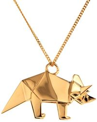 Origami Jewellery Triceratop Necklace Gold - Metallic