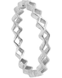 Annabelle Lucilla Jewellery Tiny Diamond Stacking Ring Silver - Metallic