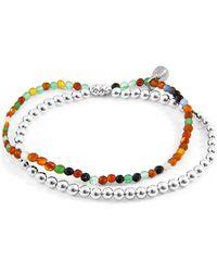 Anchor & Crew Multicoloured Agate Harmony Silver & Stone Bracelet - Metallic