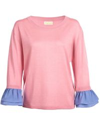 Asneh Agnes Candy Pink Ruffle Trimmed Silk Cashmere Top