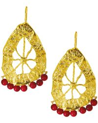 Ottoman Hands - Statement Pomegranate Red Agate Beaded Earrings - Lyst