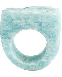 Tiana Jewel Turquoise Amazonite Hand Carved Gemstone Ring - Blue
