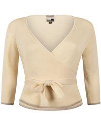 STUDIO MYR Wrap Top Of Extra Fine Merino Wool, Sweety-pearl. - White