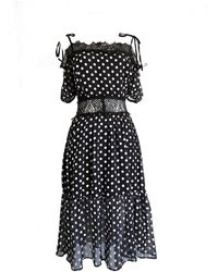 LEFON New York Spagetti Strap Polka Dot Dress - Black
