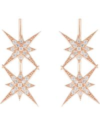 LÁTELITA London Star Burst Double Ear Climber Pair Rosegold - Multicolour