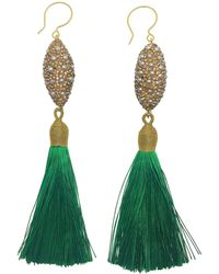 Farra Rhinestones Bordered Pearls Green Tassel Earrings