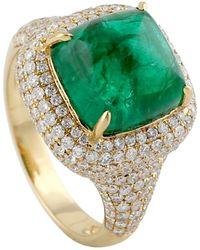 Artisan 18k Yellow Gold Diamond Cocktail Ring Emerald Precious Stone Jewellery - Metallic