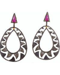 Meghna Jewels - Interlocking Claw Earrings Black & Champagne Diamonds - Lyst