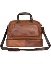 MAHI - Large Leather Raleigh Holdall Overnight/weekend Bag With Under Compartment In Vintage Brown & Vintage Mahogany Trim - Lyst