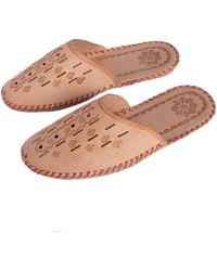 ONAIE Mens Handmade Brown Leather Slippers