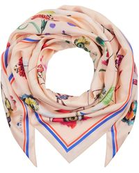 Klements Medium Scarf In Floral Explosion Print - Pink