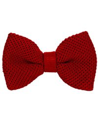 40 Colori - Red Solid Silk Knitted Bow Tie - Lyst