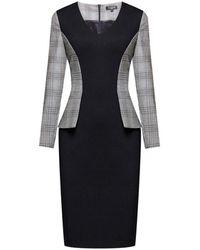 Rumour London Abigail Monochrome Dress With Prince Of Wales Check Peplum - Grey