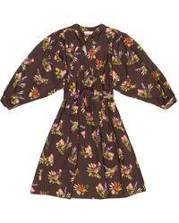 TOMCSANYI Marta Lame Flower Print Tie Dress - Multicolour