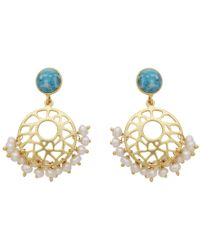 Carousel Jewels - Pearl Cluster & Turquoise Earrings - Lyst