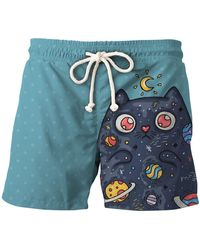 Aloha From Deer Space Cat Shorts - Blue