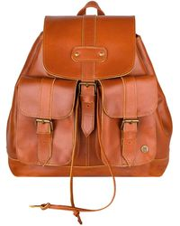 MAHI Buffalo Leather Nomad Backpack In Tan - Brown
