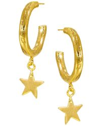 Ottoman Hands - Star Charm Hoop Earrings - Lyst