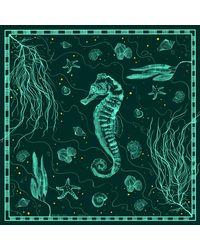Rezin The Art Collection Silk Scarf Sea Horse - Green